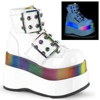 Bear White Rainbow Platform Ankle Boots
