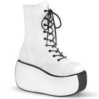 Violet White Lace-Up Boots for Women