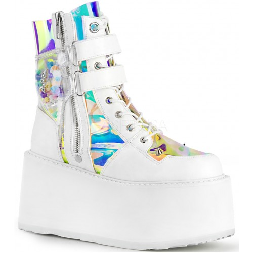 Damned White Charmed Ankle Boots at ShoeOodles Shoes for Women, Men and Children,  Oodles of Shoes for Men, Women & Children