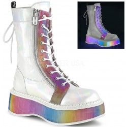 Emily Rainbow Platform White Mid-Calf Boot ShoeOodles Shoes for Women, Men and Children  Oodles of Shoes for Men, Women & Children