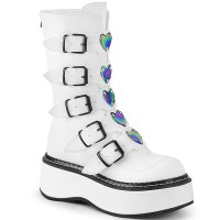 Emily White Heart Combat Boots