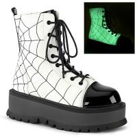 Spiderweb White Slacker Ankle Boots