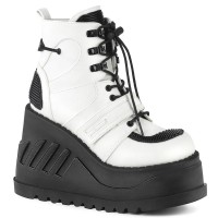 Stomp White Cybergoth Wedge Ankle Boot