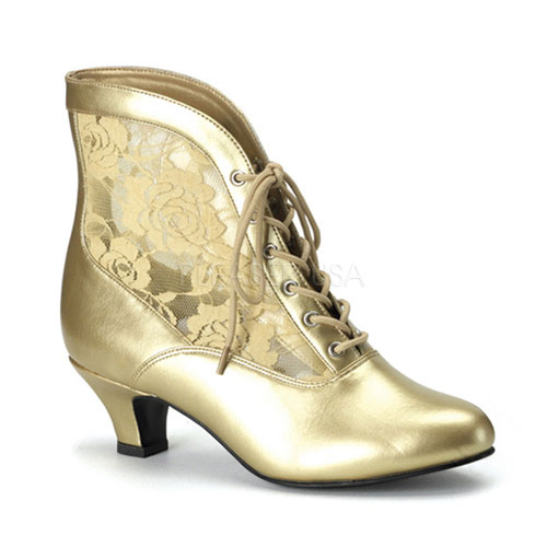 Victorian Dame Gold Ankle Boot at ShoeOodles Shoes for Women, Men and Children,  Oodles of Shoes for Men, Women & Children