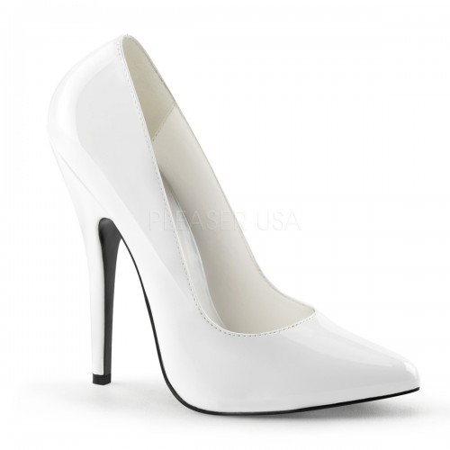 Classic White 6 Inch High Heel Pump at ShoeOodles Shoes for Women, Men and Children,  Oodles of Shoes for Men, Women & Children