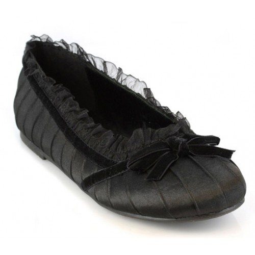 Black Satin Doll Kids Princess Shoe at ShoeOodles Shoes for Women, Men and Children,  Oodles of Shoes for Men, Women & Children