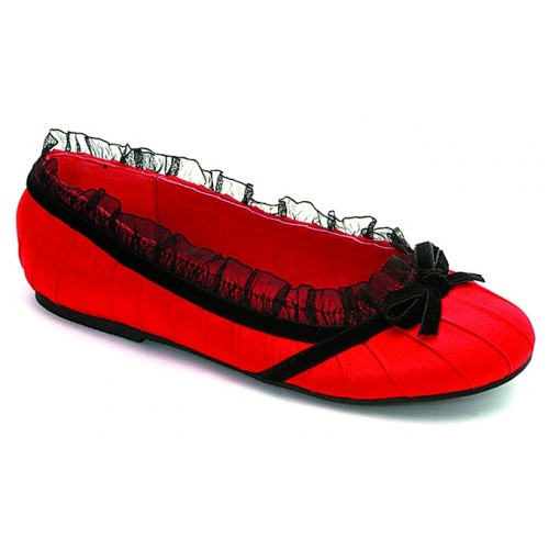 Red Satin Doll Kids Princess Shoe at ShoeOodles Shoes for Women, Men and Children,  Oodles of Shoes for Men, Women & Children