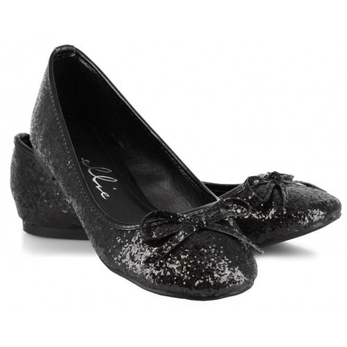 Black Glitter Mila Ballet Flats at ShoeOodles Shoes for Women, Men and Children,  Oodles of Shoes for Men, Women & Children