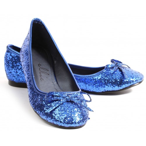 Blue Glitter Mila Ballet Flats at ShoeOodles Shoes for Women, Men and Children,  Oodles of Shoes for Men, Women & Children