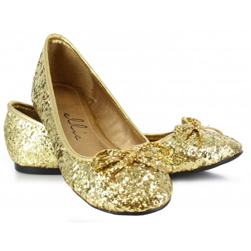 Gold Glitter Mila Ballet Flats at ShoeOodles Shoes for Women, Men and Children,  Oodles of Shoes for Men, Women & Children