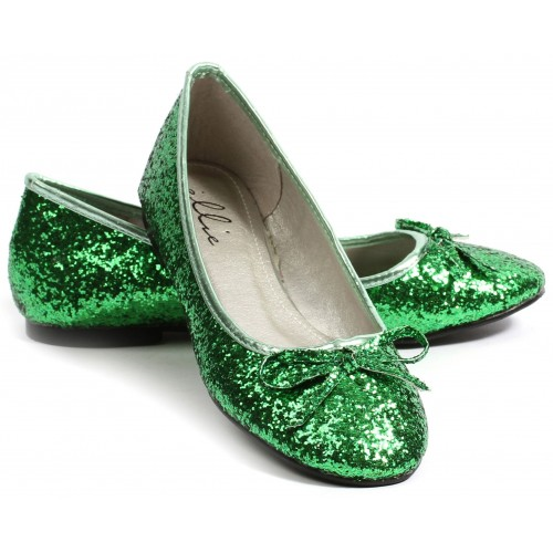 Green Glitter Mila Ballet Flats at ShoeOodles Shoes for Women, Men and Children,  Oodles of Shoes for Men, Women & Children