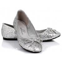 Silver Glitter Mila Ballet Flats