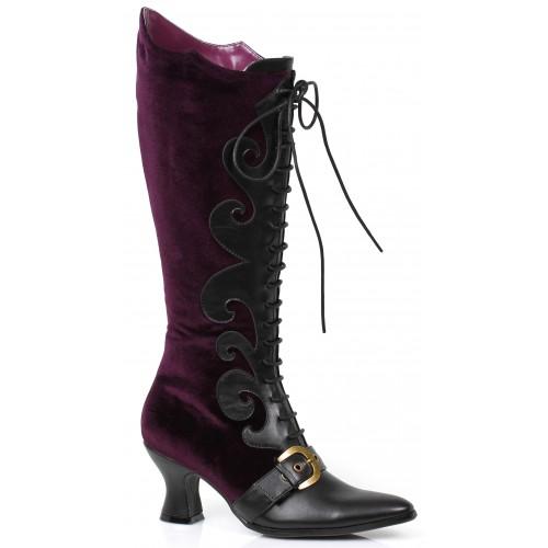 Fain Purple Velvet Witches Boot