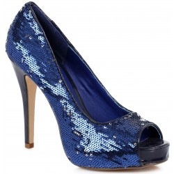 Royal Blue Flamingo Sequin Peep Toe Pumps