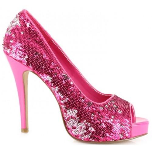 Hot Pink Flamingo Sequin Peep Toe Pumps at ShoeOodles Shoes for Women, Men and Children,  Oodles of Shoes for Men, Women & Children