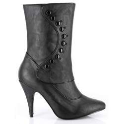 Ruth Black Ankle Boots with Button Detail