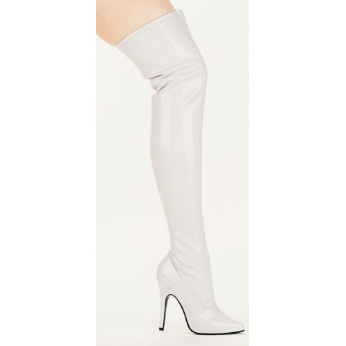 Ally White Thigh High 5 Inch Heel Boot at ShoeOodles Shoes for Women, Men and Children,  Oodles of Shoes for Men, Women & Children