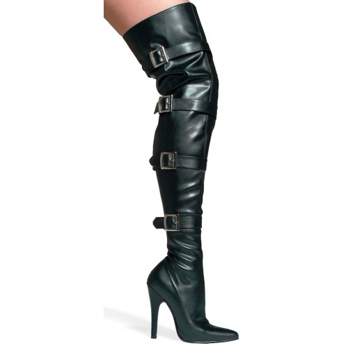 Buckle Up Black Faux Leather Thigh High 5 Inch Heel Boot at ShoeOodles Shoes for Women, Men and Children,  Oodles of Shoes for Men, Women & Children