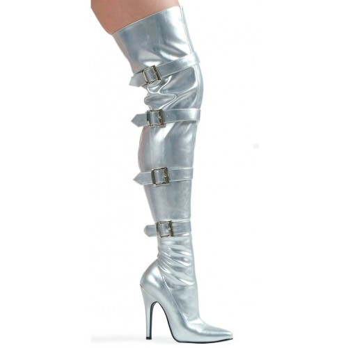 Buckle Up Silver Thigh High 5 Inch Heel Boot at ShoeOodles Shoes for Women, Men and Children,  Oodles of Shoes for Men, Women & Children
