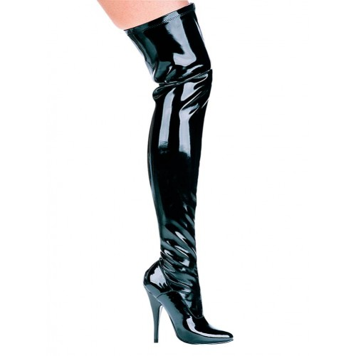 Ally Black Patent Thigh High 5 Inch Heel Boot at ShoeOodles Shoes for Women, Men and Children,  Oodles of Shoes for Men, Women & Children