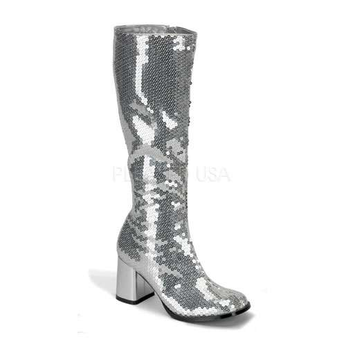 Spectacular Silver Sequin Covered Gogo Boots at ShoeOodles Shoes for Women, Men and Children,  Oodles of Shoes for Men, Women & Children