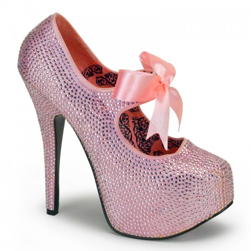 Baby Pink Rhinestone Teeze Platform Pump at ShoeOodles Shoes for Women, Men and Children,  Oodles of Shoes for Men, Women & Children