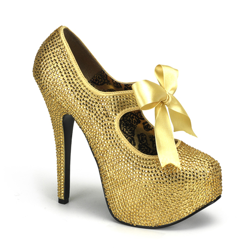 Gold Rhinestone Teeze Platform Pump at ShoeOodles Shoes for Women, Men and Children,  Oodles of Shoes for Men, Women & Children