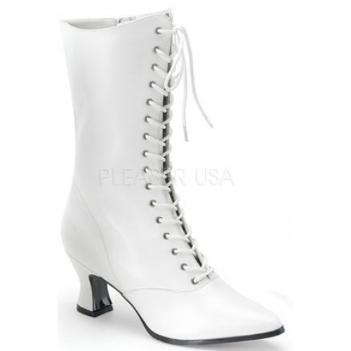 White Victorian Steampunk Ankle Boots at ShoeOodles Shoes for Women, Men and Children,  Oodles of Shoes for Men, Women & Children