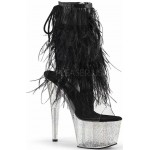 Black Marabou Trimmed Platform Ankle Boot at ShoeOodles Shoes for Women, Men and Children,  Oodles of Shoes for Men, Women & Children