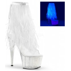 Neon White Marabou Trimmed Platform Ankle Boot ShoeOodles Shoes for Women, Men and Children  Oodles of Shoes for Men, Women & Children
