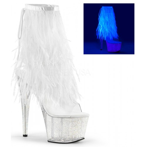 Neon White Marabou Trimmed Platform Ankle Boot at ShoeOodles Shoes for Women, Men and Children,  Oodles of Shoes for Men, Women & Children