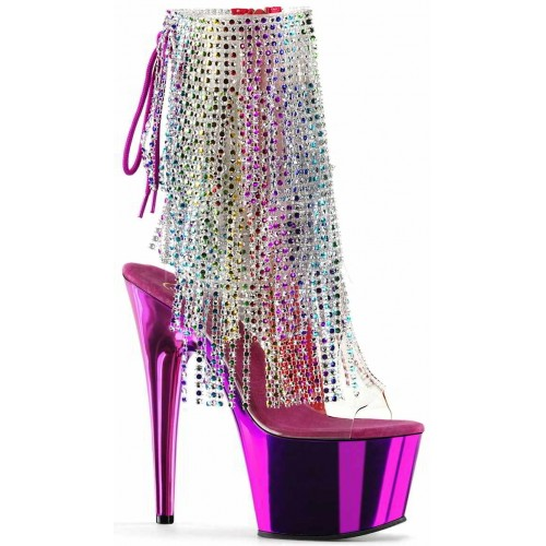 Hot Pink Rhinestone Fringe Platform Ankle Boot at ShoeOodles Shoes for Women, Men and Children,  Oodles of Shoes for Men, Women & Children