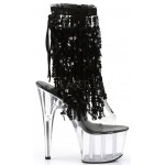Black Sequin Fringe 7 Inch Heel Ankle Boot at ShoeOodles Shoes for Women, Men and Children,  Oodles of Shoes for Men, Women & Children