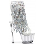 Silver Sequin Fringe 7 Inch Heel Ankle Boot at ShoeOodles Shoes for Women, Men and Children,  Oodles of Shoes for Men, Women & Children