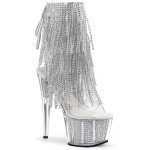 Rhinestone Fringed Silver 7 Inch Heel Ankle Boot at ShoeOodles Shoes for Women, Men and Children,  Oodles of Shoes for Men, Women & Children