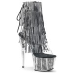 Rhinestone Fringed Black and Silver 7 Inch Heel Ankle Boot at ShoeOodles Shoes for Women, Men and Children,  Oodles of Shoes for Men, Women & Children