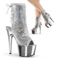 Diamond Rhinestone Silver Hologram Ankle Boot