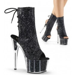 Black Glittered Platform Ankle Boot