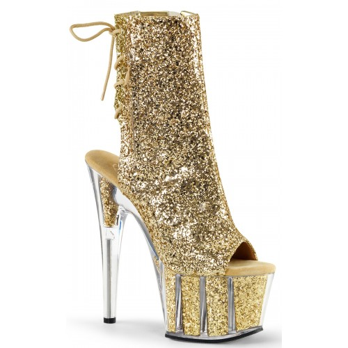 Gold Glittered Platform Ankle Boot at ShoeOodles Shoes for Women, Men and Children,  Oodles of Shoes for Men, Women & Children