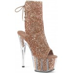 Rose Gold Glittered Platform Ankle Boot at ShoeOodles Shoes for Women, Men and Children,  Oodles of Shoes for Men, Women & Children
