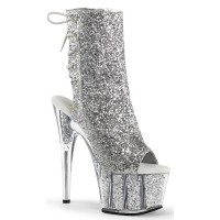 Silver Glittered Platform Ankle Boot