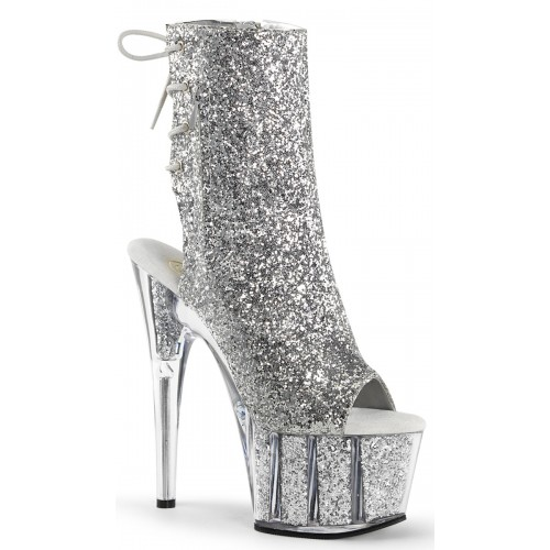 Silver Glittered Platform Ankle Boot at ShoeOodles Shoes for Women, Men and Children,  Oodles of Shoes for Men, Women & Children