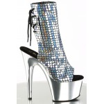 Mermaid Silver Hologram Ankle Boot at ShoeOodles Shoes for Women, Men and Children,  Oodles of Shoes for Men, Women & Children