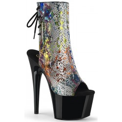 Metallic Snake Print Ankle Boot