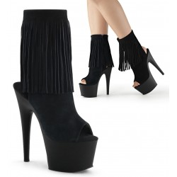 Fringed Black Suede Peep Toe and Heel Platform Ankle Boot ShoeOodles Shoes for Women, Men and Children  Oodles of Shoes for Men, Women & Children