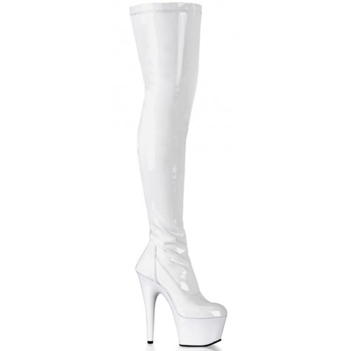 Adore White Thigh High Platform Boot at ShoeOodles Shoes for Women, Men and Children,  Oodles of Shoes for Men, Women & Children