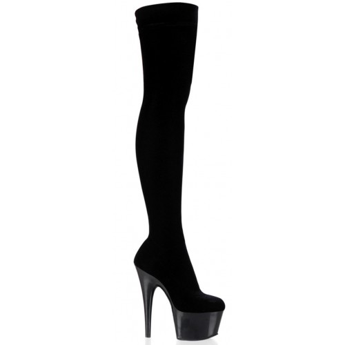 Adore Black Velvet Thigh High Platform Boot at ShoeOodles Shoes for Women, Men and Children,  Oodles of Shoes for Men, Women & Children