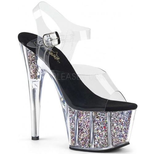 Confetti Filled Clear Platform Adore Sandals at ShoeOodles Shoes for Women, Men and Children,  Oodles of Shoes for Men, Women & Children
