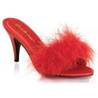 Amour Red Maribou Trimmed Slipper
