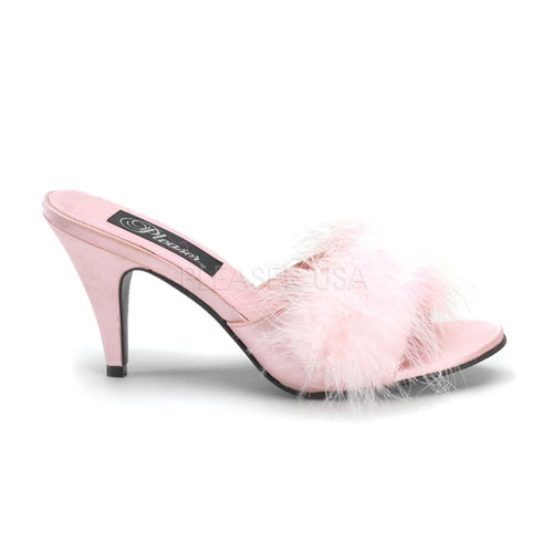 Amour Baby Pink Maribou Trimmed Slipper at ShoeOodles Shoes for Women, Men and Children,  Oodles of Shoes for Men, Women & Children